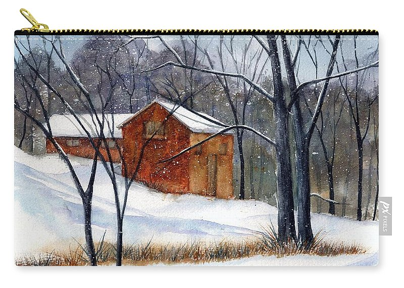 Cabin Carry-all Pouch featuring the painting Cabin In The Woods by Debbie Lewis