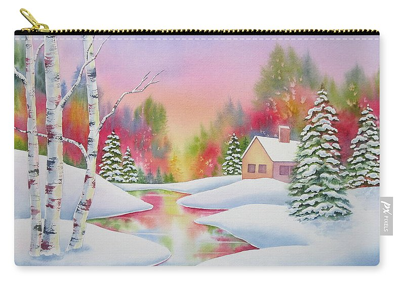 Landscape Carry-all Pouch featuring the painting Cabin In The Woods by Deborah Ronglien