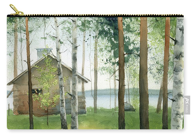 Watercolor Carry-all Pouch featuring the painting Cabin In The Woods by Zapista Zapista