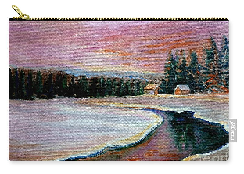 Cabin Retreat Carry-all Pouch featuring the painting Cabin Retreat by Carole Spandau