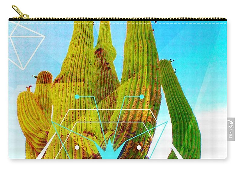 Arizona Carry-all Pouch featuring the mixed media Cacti Embrace by Michelle Dallocchio