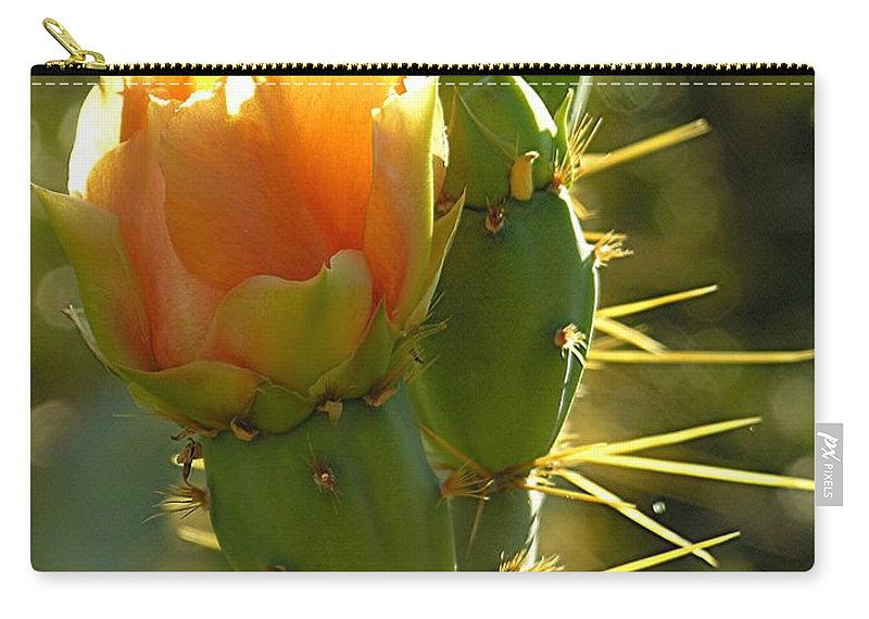 Prickle Pear Cactus Carry-all Pouch featuring the digital art Cactus Buds by Diane Greco-Lesser