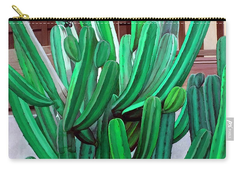 Landscape Carry-all Pouch featuring the painting Cactus Fly By by Snake Jagger