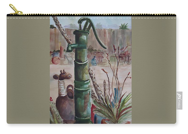 Landscape Carry-all Pouch featuring the painting Cactus Joes' Pump by Charme Curtin