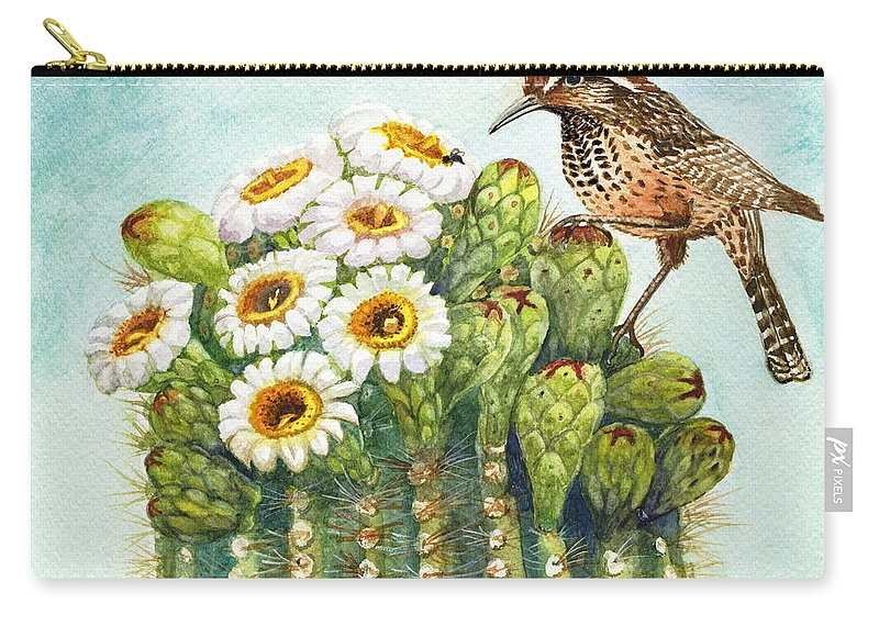 Cactus Wren Carry-all Pouch featuring the painting Cactus Wren And Saguaro by Marilyn Smith