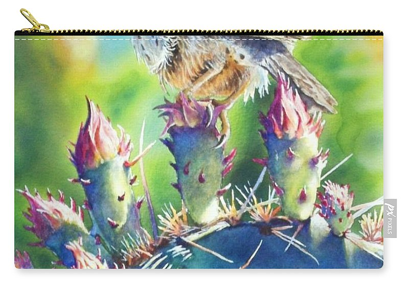 Wren Carry-all Pouch featuring the painting Cactus Wren by Greg and Linda Halom