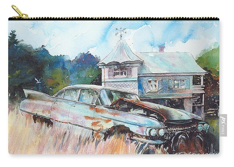 Cadillac Carry-all Pouch featuring the painting Caddy Sliding Down the Slope by Ron Morrison