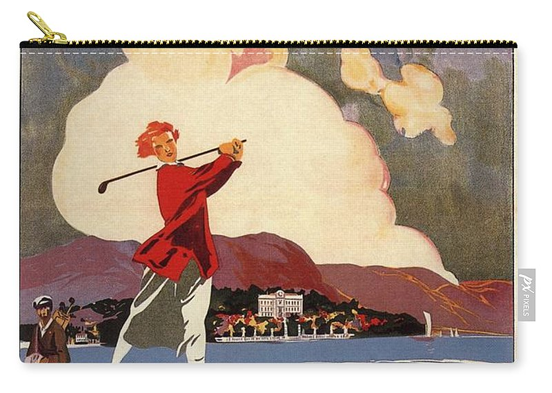Golf Carry-all Pouch featuring the mixed media Cadenabbia Tremezzo, Golf And Tennis - Golf Club - Retro Travel Poster - Vintage Poster by Studio Grafiikka