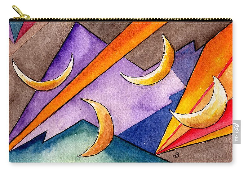 Watercolor Abstract Orange Purple Grey Moon Moons Design Fantasy Surreal Carry-all Pouch featuring the painting Cadence by Brenda Owen