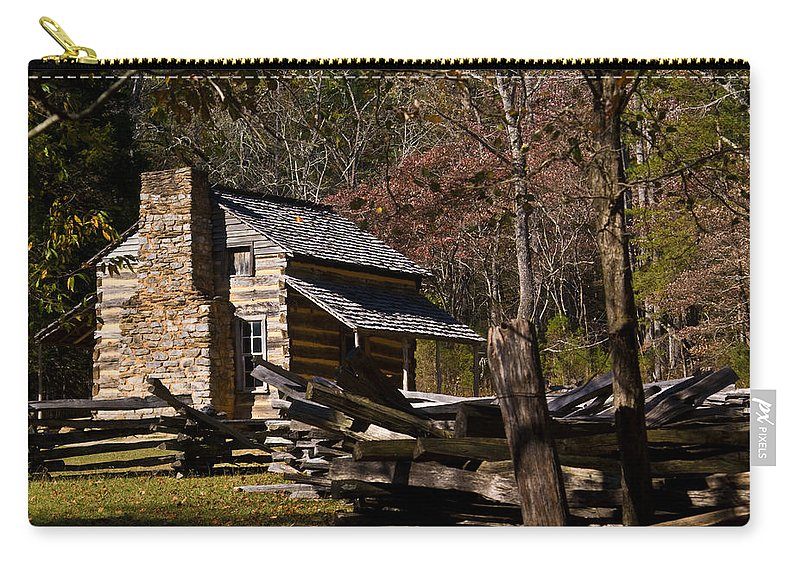 Cades Carry-all Pouch featuring the photograph Cades Cove Cabin by Douglas Barnett