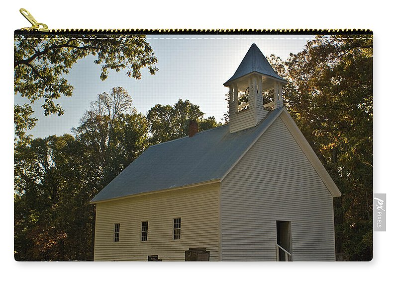 Cades Carry-all Pouch featuring the photograph Cades Cove Methodist Church Aglow by Douglas Barnett