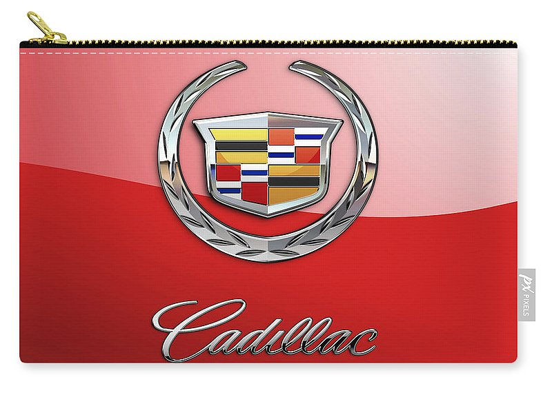 �wheels Of Fortune� Collection By Serge Averbukh Carry-all Pouch featuring the photograph Cadillac - 3 D Badge on Red by Serge Averbukh