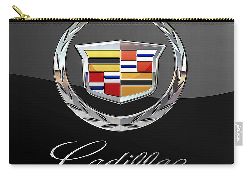 'wheels Of Fortune' By Serge Averbukh Carry-all Pouch featuring the photograph Cadillac - 3 D Badge On Black by Serge Averbukh