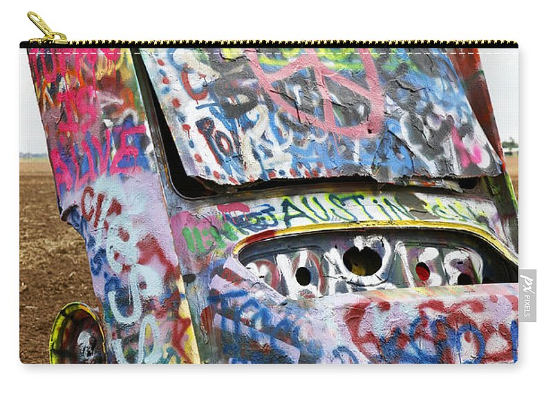 Americana Carry-all Pouch featuring the photograph Cadillac Ranch by Marilyn Hunt