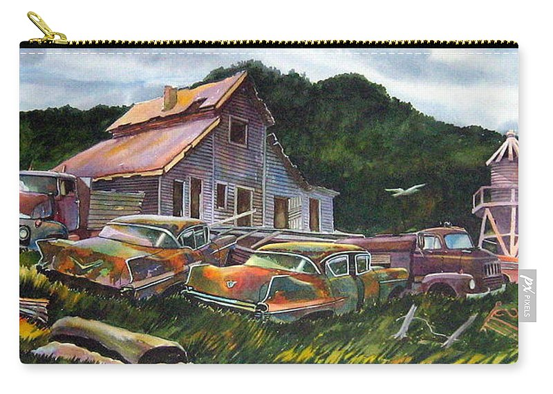 Cadillacs Carry-all Pouch featuring the painting Cadillac Ranch by Ron Morrison