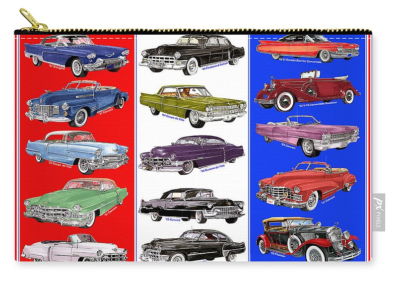 Big Caddy Posters. Art Of 15 Cadillac Framed Art Of Vintage Cadillacs. A Whole Lot Of Caddy's. 1957 Cadillac Carry-all Pouch featuring the painting 15 Cadillacs The Poster by Jack Pumphrey