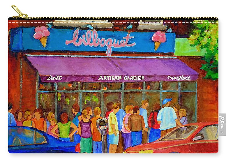 Cafe Bilboquet Carry-all Pouch featuring the painting Cafe Bilboquet Ice Cream Delight by Carole Spandau
