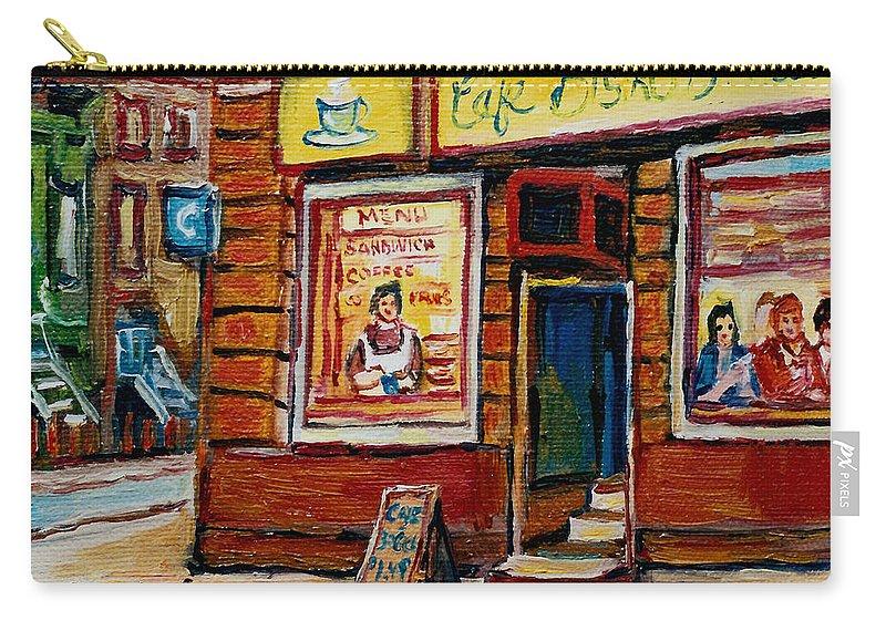 Cafe Bistro St.viateur Carry-all Pouch featuring the painting Cafe Bistro St. Viateur by Carole Spandau