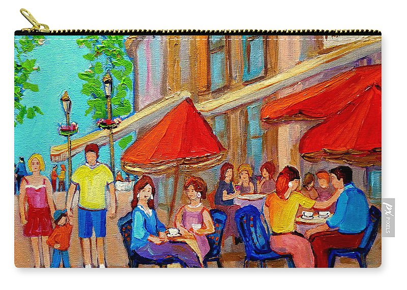 Cafescene Carry-all Pouch featuring the painting Cafe Casa Grecque Prince Arthur by Carole Spandau