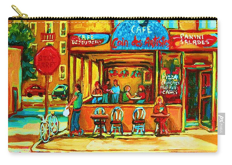 Cafes Carry-all Pouch featuring the painting Cafe Coin Des Artistes by Carole Spandau