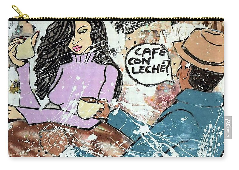 Carry-all Pouch featuring the mixed media Cafe Con Leche by Dele Akerejah
