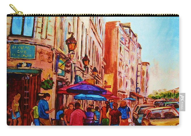 Montreal Carry-all Pouch featuring the painting Cafe Creme by Carole Spandau