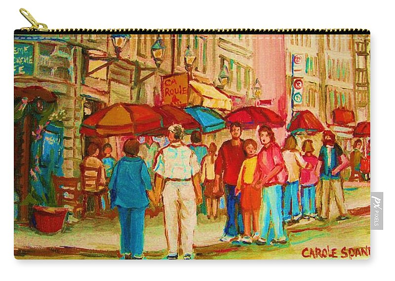 Cafe Scenes Carry-all Pouch featuring the painting Cafe Crowds by Carole Spandau