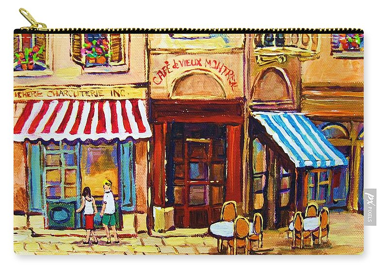 Old Montreal Outdoor Cafe City Scenes Carry-all Pouch featuring the painting Cafe De Vieux Montreal With Couple by Carole Spandau