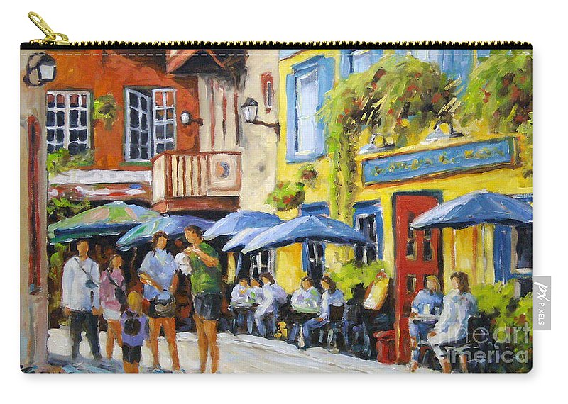 Balcony Carry-all Pouch featuring the painting Cafe In The Old Quebec by Richard T Pranke