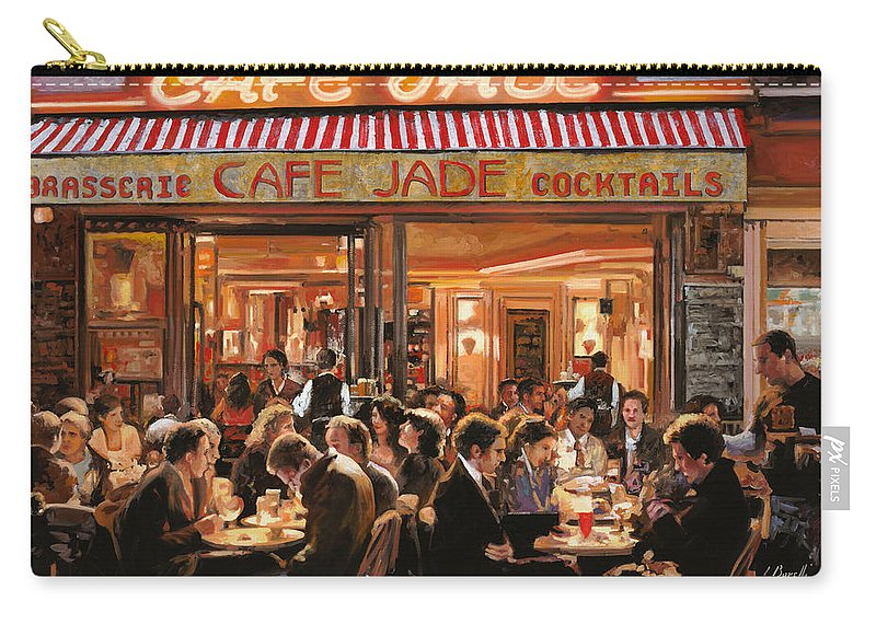 Brasserie Carry-all Pouch featuring the painting Cafe Jade by Guido Borelli