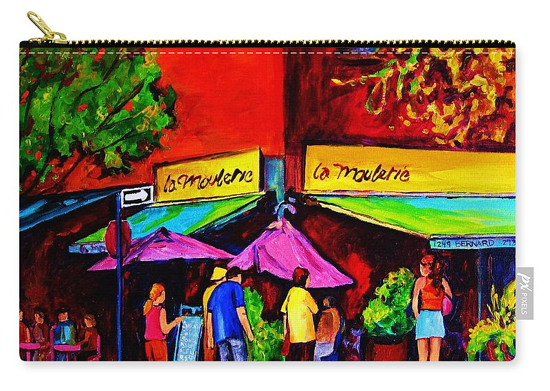 Cafe Scenes Carry-all Pouch featuring the painting Cafe La Moulerie On Bernard by Carole Spandau