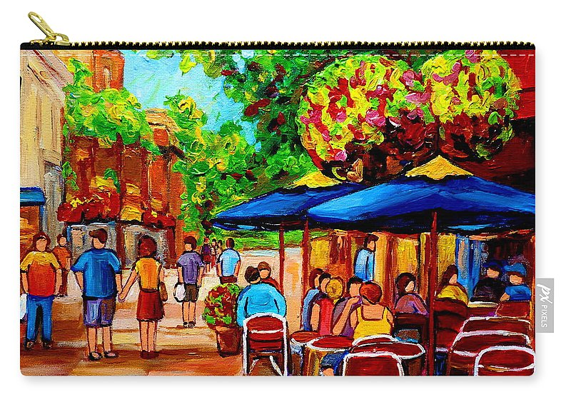 Cafe On Prince Arthur In Montreal Carry-all Pouch featuring the painting Cafe On Prince Arthur In Montreal by Carole Spandau