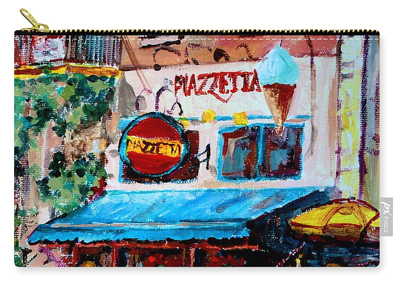 Cafes On St Denis Paris Cafes Carry-all Pouch featuring the painting Cafe Piazzetta St Denis by Carole Spandau