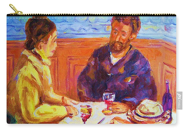 Cafes Carry-all Pouch featuring the painting Cafe Renoir by Carole Spandau