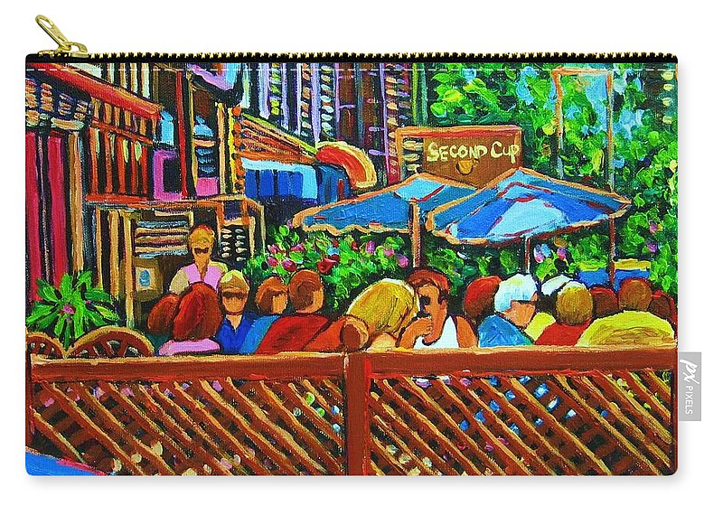 Cafes Carry-all Pouch featuring the painting Cafe Second Cup by Carole Spandau