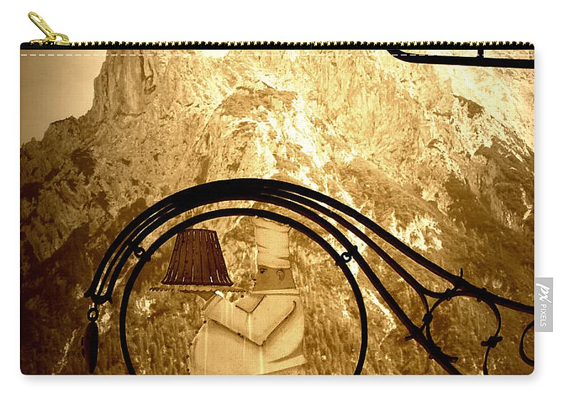 Cafe Sign Carry-all Pouch featuring the photograph Cafe Sign In Bavarian Alps by Carol Groenen