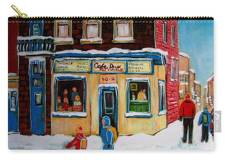 Cafe St. Viateur Montreal Carry-all Pouch featuring the painting Cafe St. Viateur Montreal by Carole Spandau