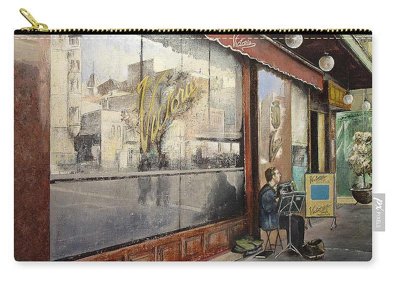 Cafe Carry-all Pouch featuring the painting Cafe Victoria by Tomas Castano