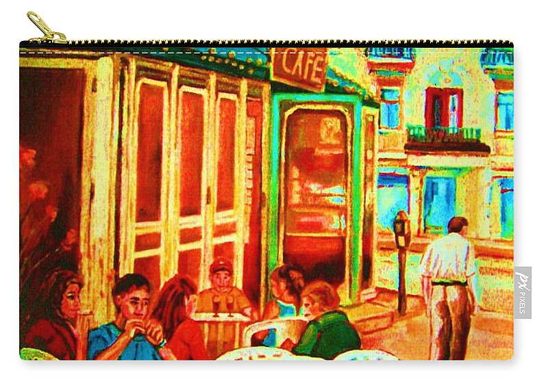 Cafes Carry-all Pouch featuring the painting Cafe Vienne by Carole Spandau