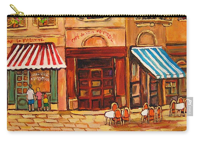 Cafe Vieux Montreal Street Scenes Carry-all Pouch featuring the painting Cafe Vieux Montreal by Carole Spandau