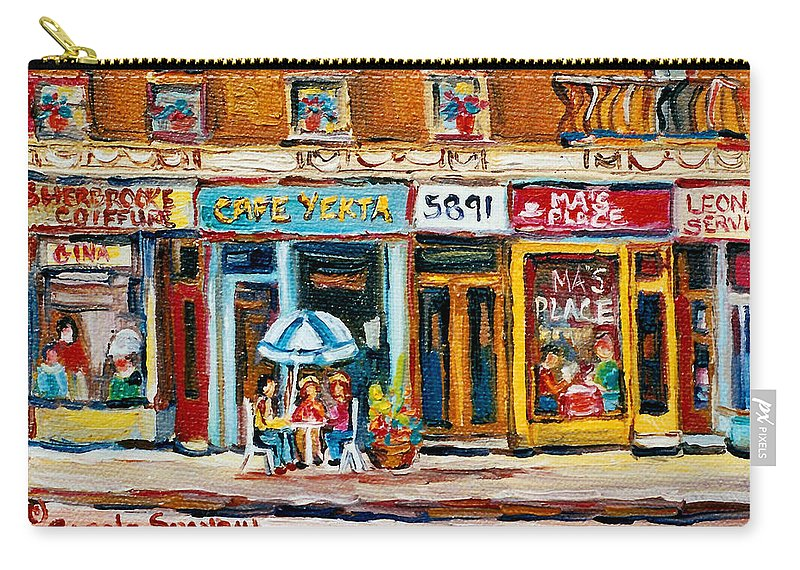 Cafes Carry-all Pouch featuring the painting Cafe Yenta And Ma's Place by Carole Spandau