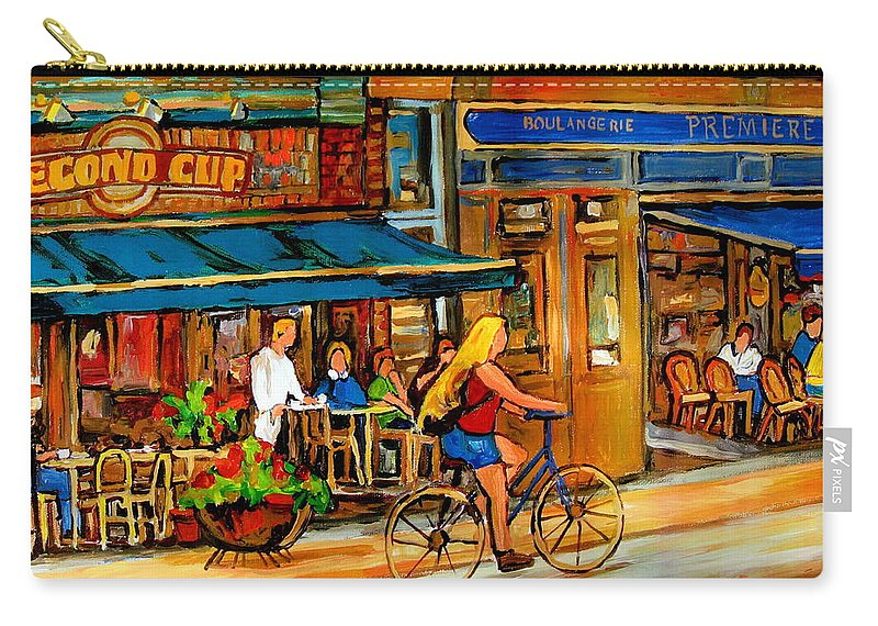 Cafes Carry-all Pouch featuring the painting Cafes With Blue Awnings by Carole Spandau