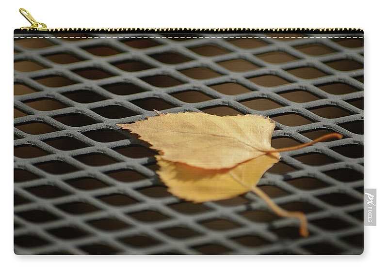 Leaf Carry-all Pouch featuring the photograph Caged Leaf by Alex King