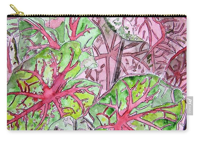 Watercolour Carry-all Pouch featuring the painting Caladiums Tropical Plant Art by Derek Mccrea