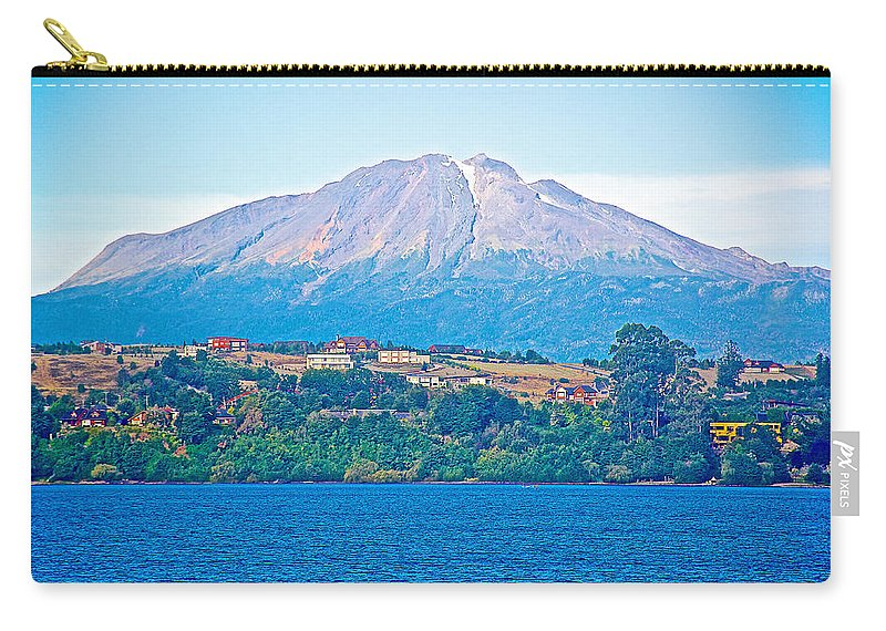 Calbuco Volcano Over Volcano On Llanquihue Lake In Puerto Varas Carry-all Pouch featuring the photograph Calbuco Volcano Over Llanquihue Lake From Puerto Varas-chile by Ruth Hager