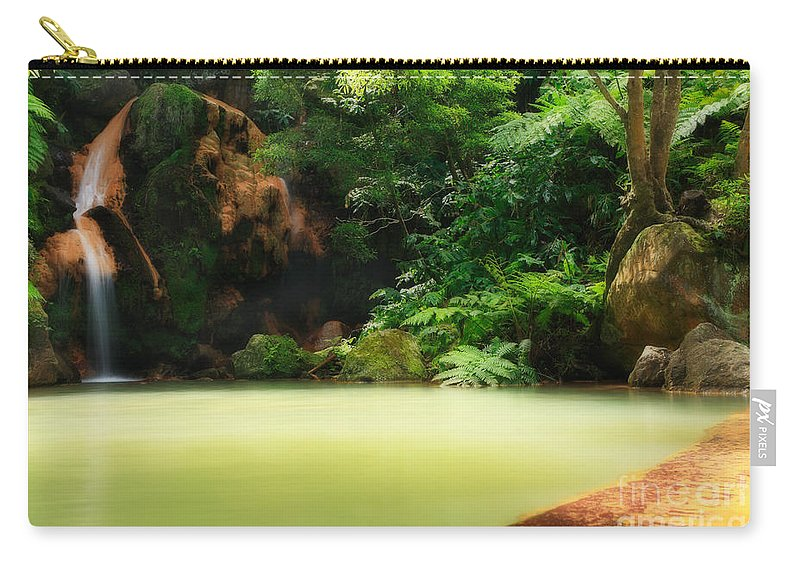 Azoren Carry-all Pouch featuring the photograph Caldeira Velha Thermal Pool by Gaspar Avila