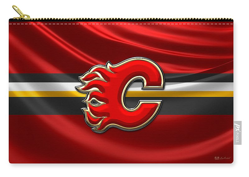 Hockey Hall Of Fame 3d By Serge Averbukh Carry-all Pouch featuring the photograph Calgary Flames - 3D Badge over Flag by Serge Averbukh