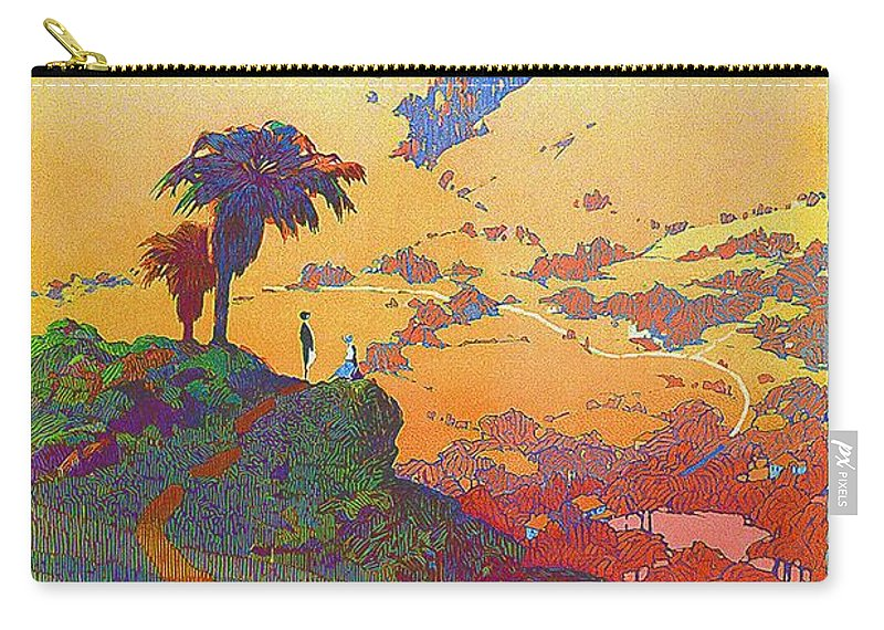 California Carry-all Pouch featuring the mixed media California - America's Vacation Land And New York Central Lines - Retro Travel Poster - Vintage by Studio Grafiikka