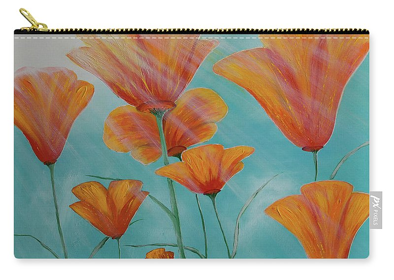 Poppies Carry-all Pouch featuring the painting California Coast Flowers by Elena Nesterenko