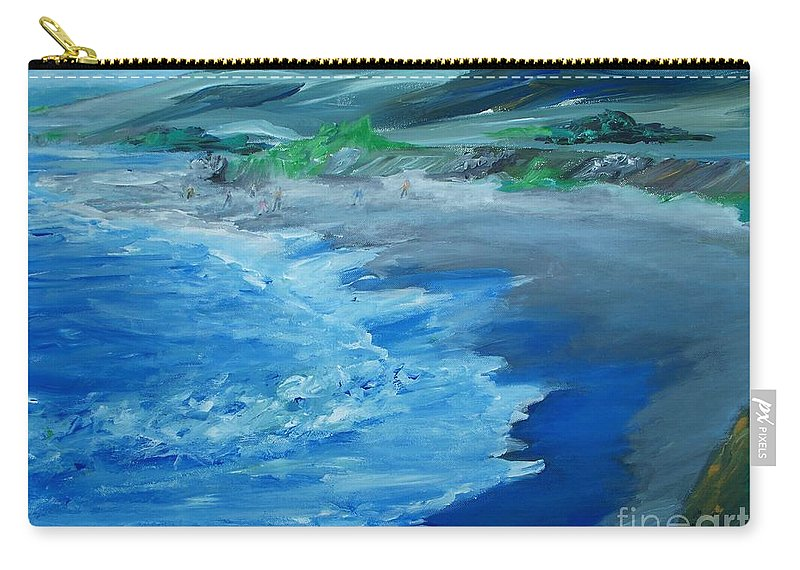 California Coast Carry-all Pouch featuring the painting California Coastline Impressionism by Eric Schiabor